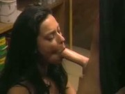 Black haired beauty takes it in the back door