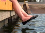 Crystal's black ballet flats shoeplay barefoot muddy