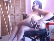 handicapped woman strips in the wheelchair