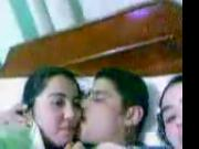 Arab Man kiss Two Arab Egyptian Girl in bed