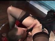 Mistress dominates her slave