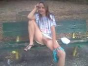 Flashing pussy on a park bench