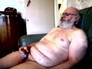 old silver daddy bear jerking his cock