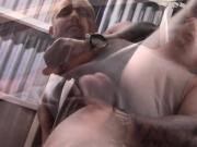 Tattooed straight thug wanks off his thick cock and cums