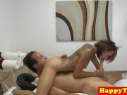Erotic asian babe gives full body massage