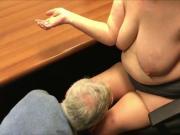 Penny Sneddon used, worm husband licks up spunk