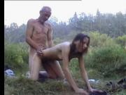 Ugliest oldman fucks Anorexic girl in the woods