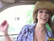 Cute brunette Dillion Carter gets her tight pussy wrecked