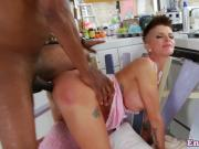 Assfucked milf enjoys enema fetish in kitchen