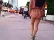 Candid voyeur hot in peach romper incredible legs