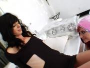 Tori Lux between tranny cocks