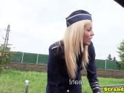 European stewardess teen cockriding in public