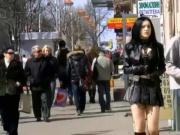 Gothic Girl dressed like a Slut in public