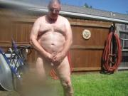Naked piss in back yard