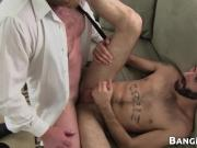 Bottom with manly beard and tattoos drilled by macho daddy