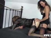 Sexy dom fucks tranny sluts tight ass and makes her cum