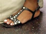 Candid ebony feet white toes 2
