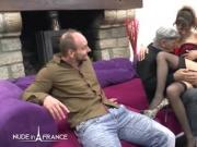 Skinny amateur french brunette hard sodomized in 3 way
