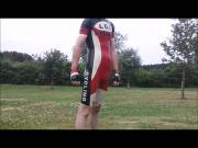 Latex cycling skinsuit red,black,white