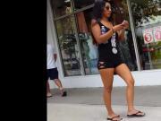 Candid voyeur thick short tan latina in tight tiny shorts