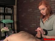Dom ginger masseuse giving roped wankjob
