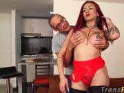 Seductive redhead TS big ass rammed intensely with big cock