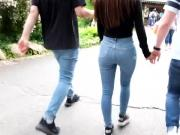 EXTREMELY HOT JEANS TEEN ASS AT A THEME PARK