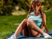 Redhead realistic sex doll, anal creampie blowjob fantasies