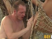Outdoor speculum and anal fun for suspended kink twink