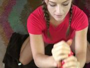 Handjob and Facial with long red nails