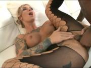 Tattooed chick squirting on BBC.!