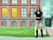 Sexy CD goes outside - TGirl wears short dress and boots