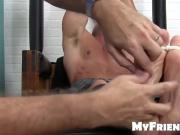 Restrained stud has dirty socks taken off for feet tickling