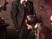 Paul Chaplin got a ravishing lady to shove his tool between his legs