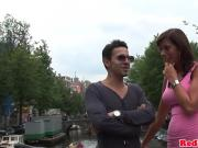 Threeway sex tourist cocksucked in Amsterdam