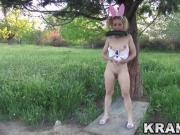 Little bunny girl provocative in a outdoor voyeur video