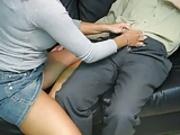 Secretary gives boss Handjob