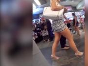 blonde miniskirt in public
