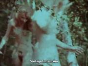 Three Girls Swimming Naked in Lake 1960s Vintage