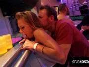 Slutty pornstars fuck in a club