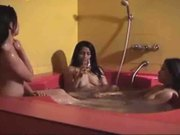 THREE ORIENTAL TEENS IN A BATHTUBE
