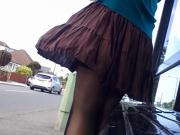 brown ruffle breezy upskirt part 1