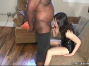 Fat black freak has an Asian slut sucking his dick