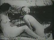 lesbians and hunter in the wood - circa 1950