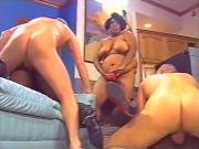 3 Ebony BBWs group sex