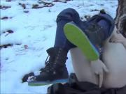 Sexy Teen mastrubate outdoor in the Snow