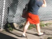 Super Sexy MILF Neighbor Orange Dress Jiggle