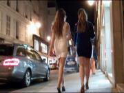 Two brunette in sexy dress and high heels