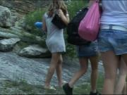 Four Amateur Girls vs. One Masked Guy Outdoor Group Fuck