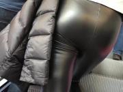 MILF in shiny leather Leggings #1
